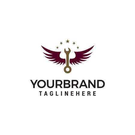 wrench logo design concept template vector