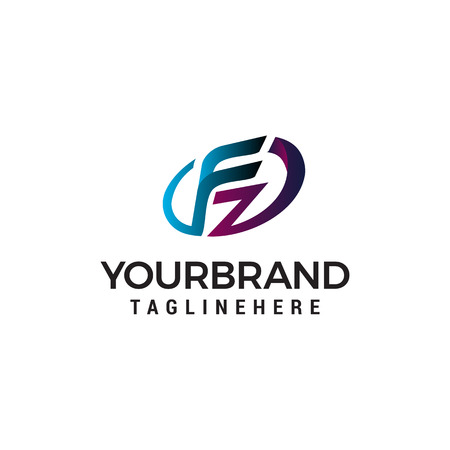letter fz logo design concept template vector 向量圖像