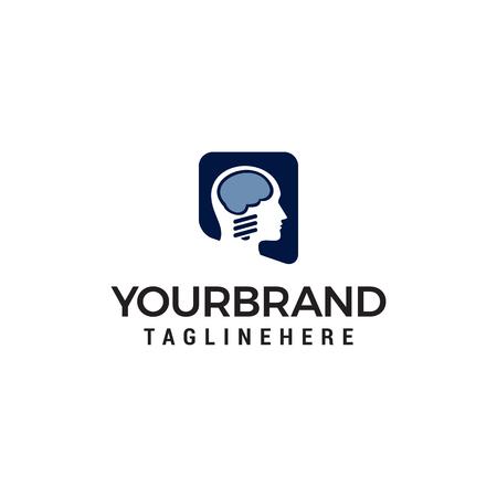 brain head logo design concept template vector