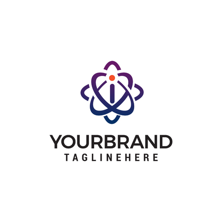 letter i technology logo design concept template vector