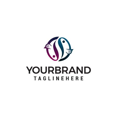 fish logo design concept template vector