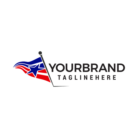 flag america star logo design concept template vector