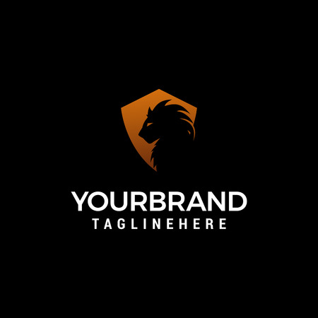 Lion shiled logo design concept template vector Illustration