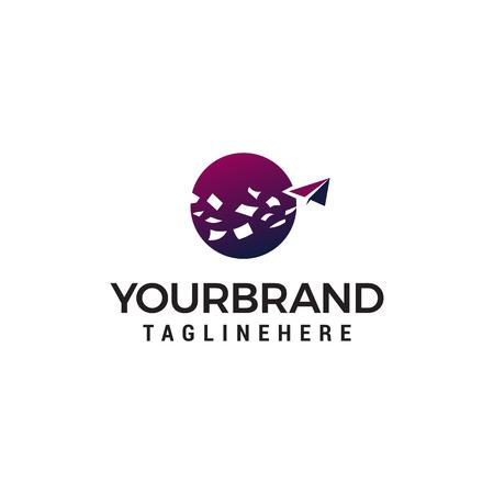 Paper plane logo design concept template vector Ilustração