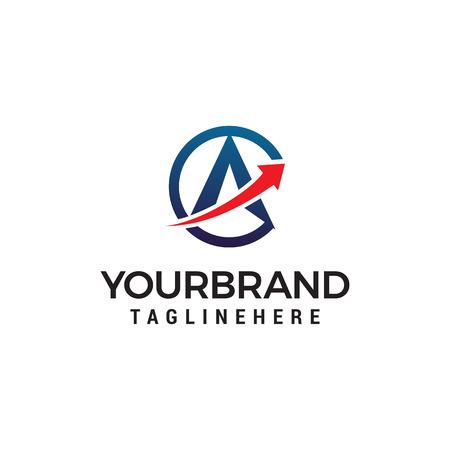 letter A arrow logo design concept template vector