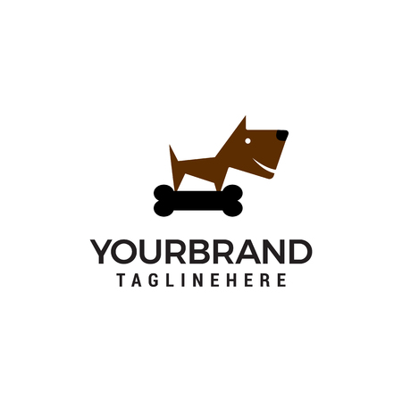 bone and dog logo design concept template vector Illustration