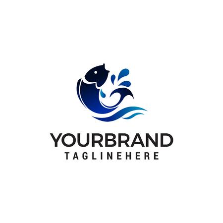 Fisch springen Logo Design Konzept Vorlage Vektor