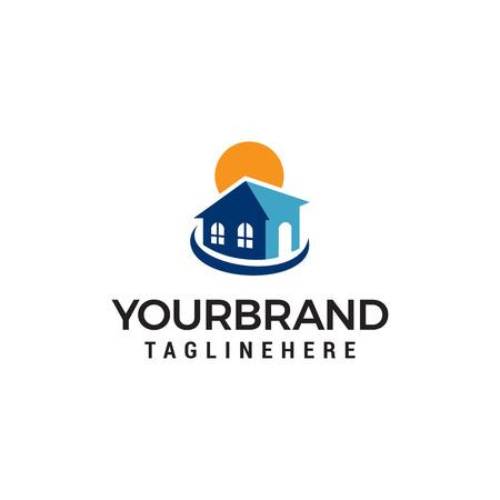 real estate sun logo design concept template vector