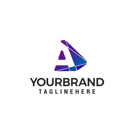 letter A logo technology design concept template vector