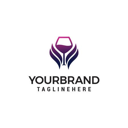 glass wing wine logo design concept template vector