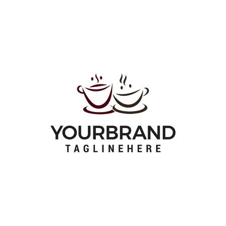 two cup coffee logo design concept template vector