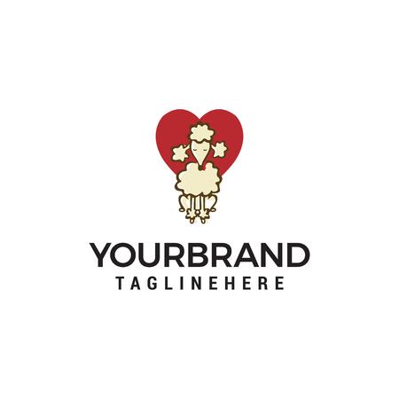dog heart logo design concept template vector Illustration