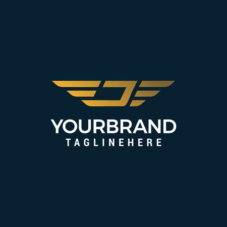 letter j wing logo design concept template vector