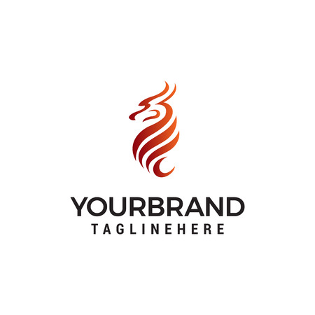dragon abstract logo design concept template vector