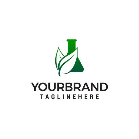 vecteur de modèle de concept de conception de logo de feuille de potion. Logo de laboratoire vert