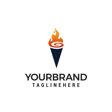 torch logo design concept template