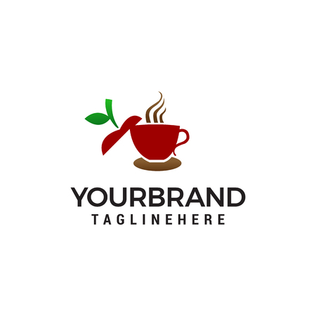 apple tea logo design concept template vector Illustration