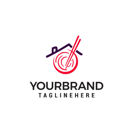 restaurant asian noodle logo design concept template vector