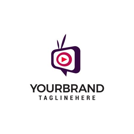 vettore del modello di concetto di progettazione del logo della televisione multimediale