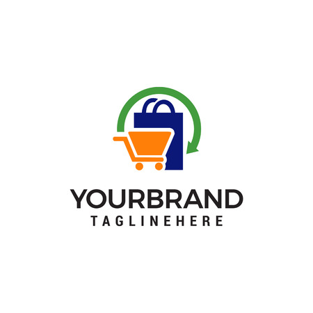 shopping logo design concept template vector