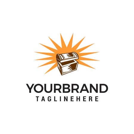 treasure box logo design concept template vector