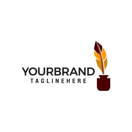 vector de plantilla de concepto de diseño de logotipo de pluma de pluma