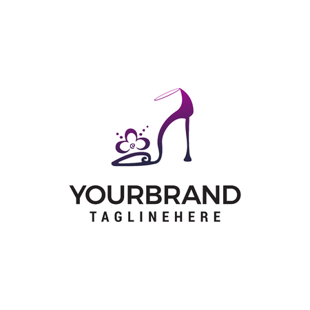 high heels logo design concept template vector Illustration