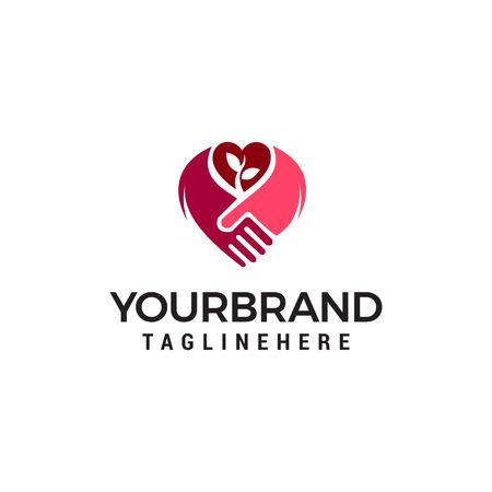 handshake love logo design concept template vector