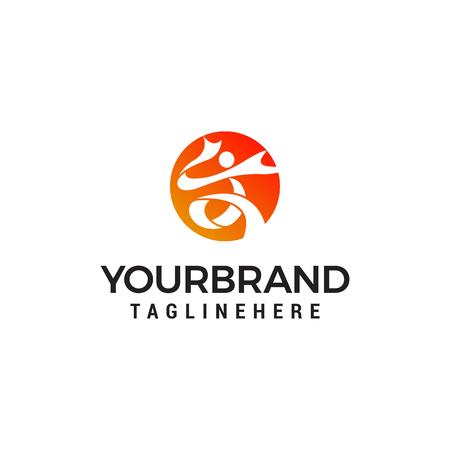 people sport logo design concept template vector Illustration