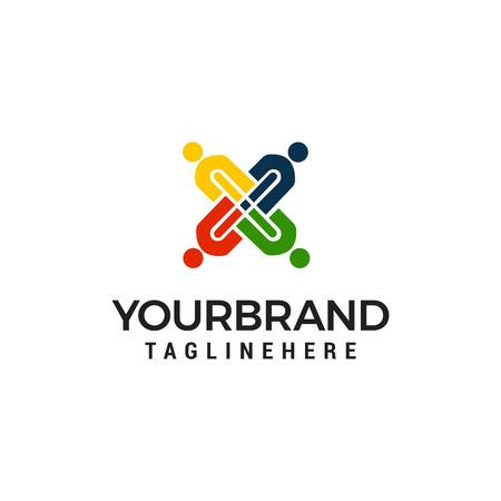 people cross team work logo design concept template vector