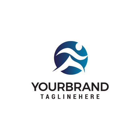 people run abstract logo design concept template vector  イラスト・ベクター素材