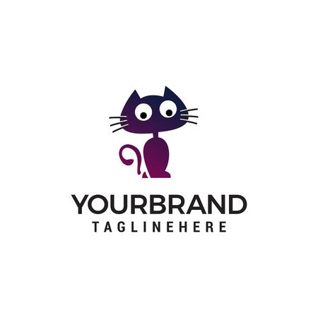 cat stand cartoon logo design concept template vector