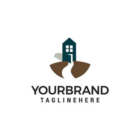 Road and House logo design concept template vector