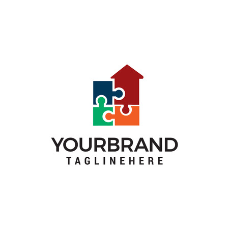 puzzle home logo design concept template vector