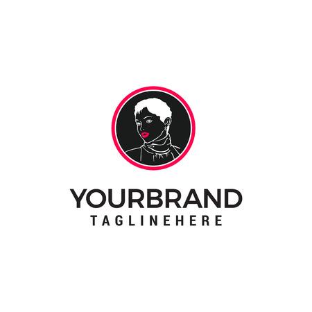 vettore del modello di concetto di progettazione di logo del fronte della donna di stile di modo Logo