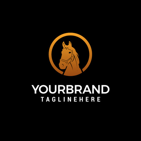 horse head logo design concept template vector Illustration