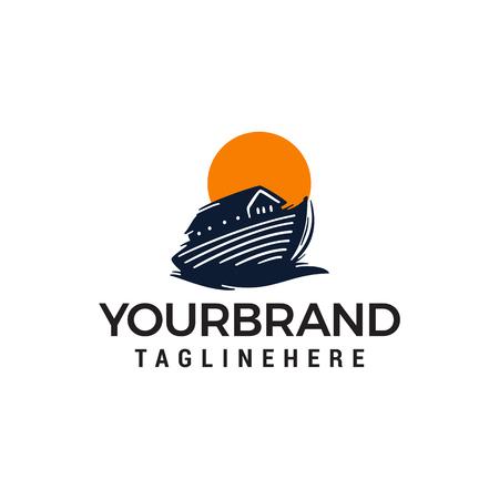 wooden boat logo, Thai boat design concept template vector