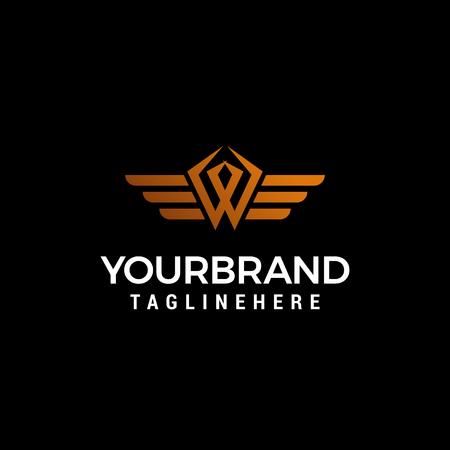 letter W wing logo design concept template vector Logo