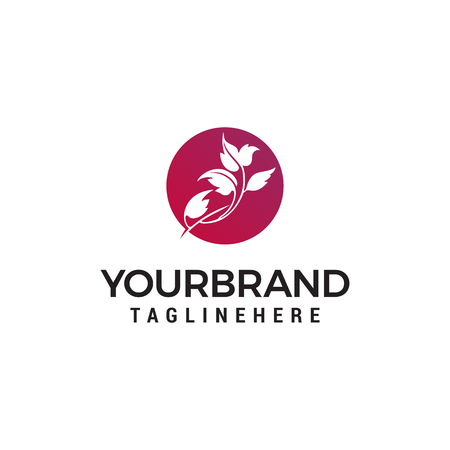 leaf flower logo design concept template vector