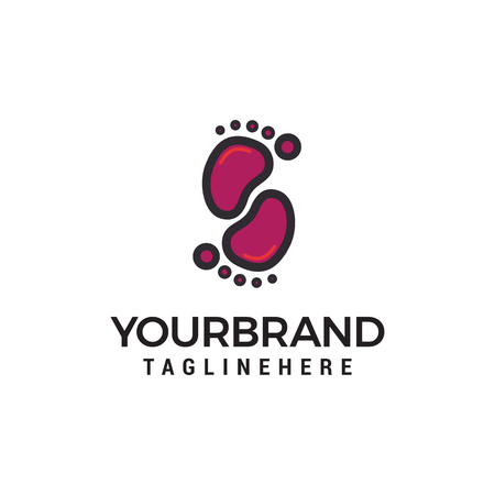Fußspuren Logo Design Konzept Vorlage Vektor