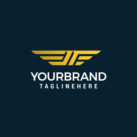 letter jf wing logo design concept template vector Illustration