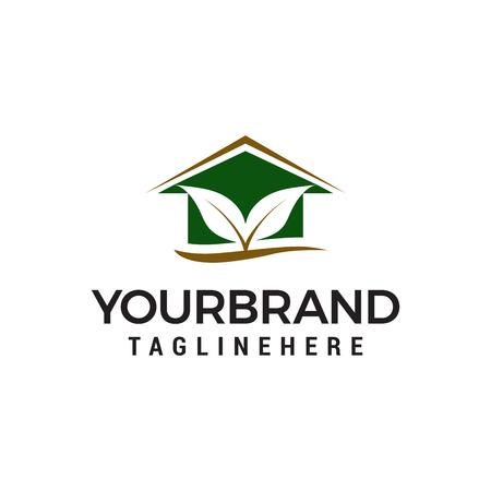 leaf house logo design concept template vector Ilustração