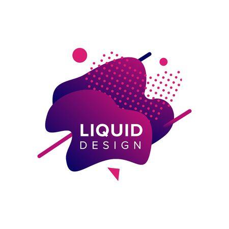 Color abstract liquid shape, fluid color overlap gradient background. Vector creative neon color design