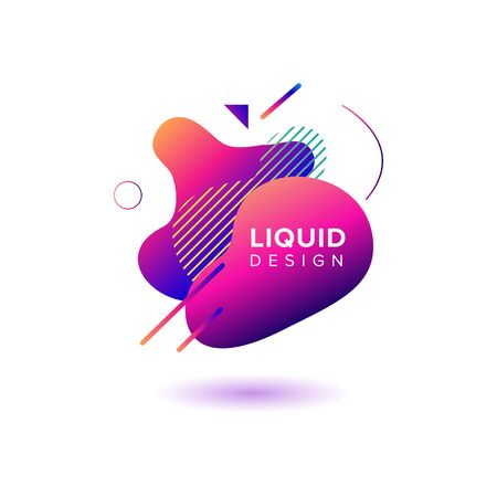 Color abstract liquid shape, fluid color overlap gradient background. Vector creative neon color design