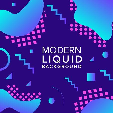 Liquid color background design with trendy shapes composition. Futuristic design background for banner poster frame