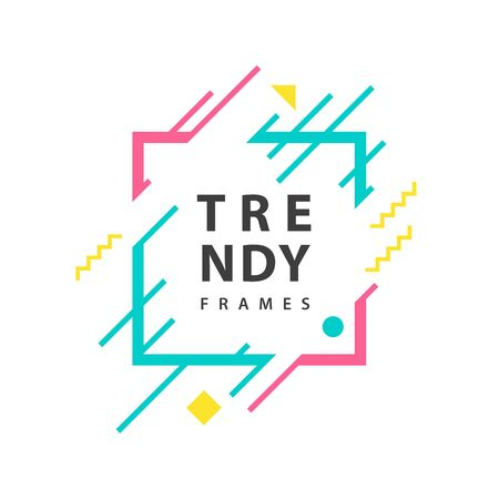square Frames with geometric lines Vector . Borders with trendy shapes. Graphics design templates for fashionable banners, flyers, posters, cards.