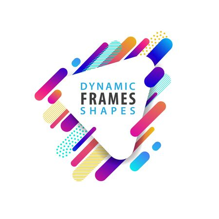 Abstract triangle frames with dynamic shapes for cover design, poster, card greeting, business. Vector illustration template.