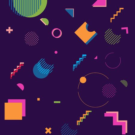trendy geometric shapes memphis hipster background vector 스톡 콘텐츠 - 127908505
