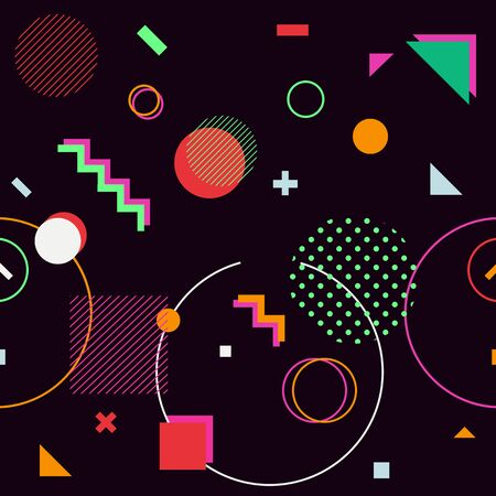 trendy geometric shapes memphis hipster background vector 스톡 콘텐츠 - 127908504