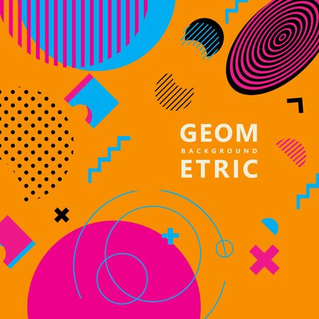 trendy geometric shapes memphis hipster background vector 스톡 콘텐츠 - 127908507